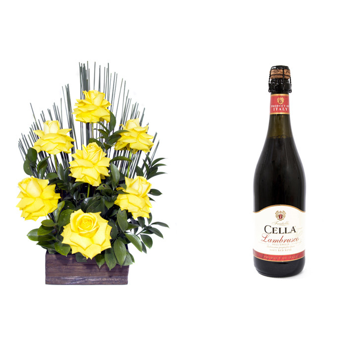 Arranjo de Flores Affetto di fiori amarelo + Vinho Frisante Cella Lambrusco Tinto 750ml