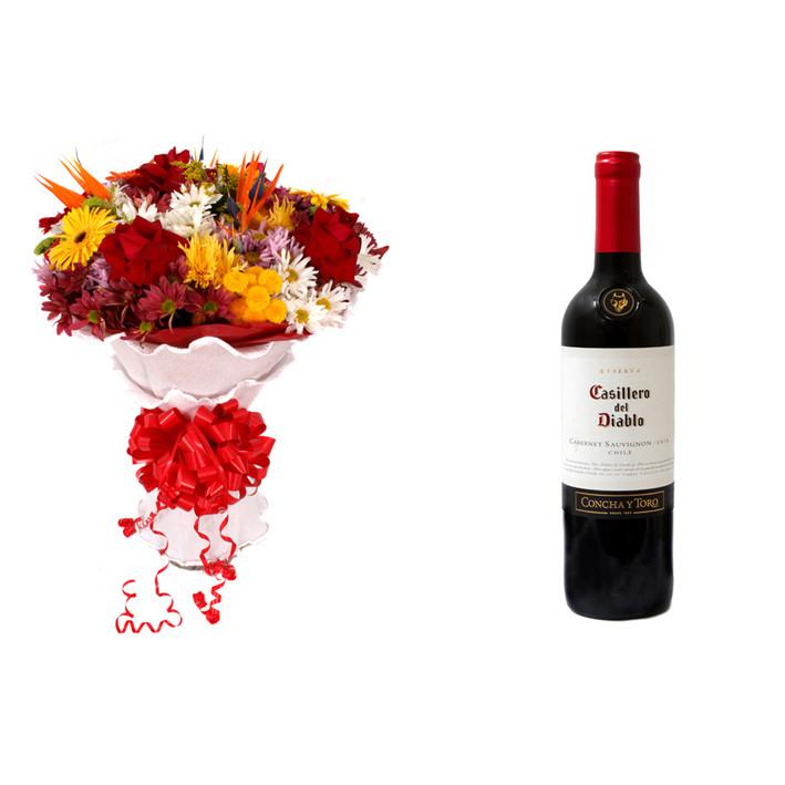 Buquê de Flores Lindo Tropical + Vinho Casillero Del Diablo Reserva Cabernet Sauvignon