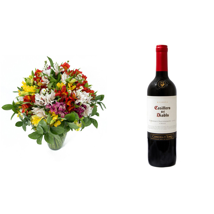 Buquê de Flores Colorido Alegre + Vinho Casillero Del Diablo Reserva Cabernet Sauvignon