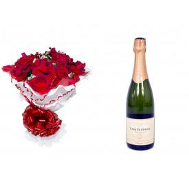 Buquê de Flores Encanto de Colombianas Vermelho + Espumante Casa Valduga