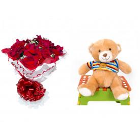 Buquê de Flores Encanto de Colombianas Vermelho + Urso Carinhoso