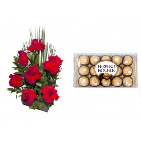 Arranjo de Flores Affetto di fiori vermelho + Ferrero Rocher