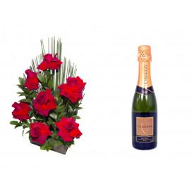 Arranjo de Flores Affetto di fiori vermelho + Espumante ChandonBrut 375ml