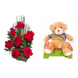 Arranjo de Flores Affetto di fiori vermelho + Urso Carinhoso