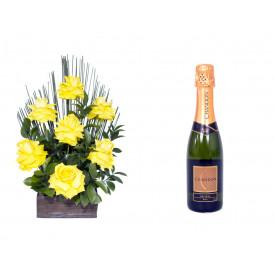 Arranjo de Flores Affetto di fiori amarelo + Espumante ChandonBrut