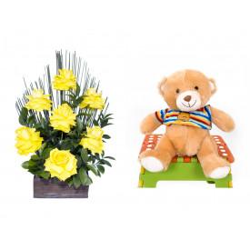 Arranjo de Flores Affetto di fiori amarelo + Urso Carinhoso