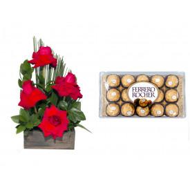 Arranjo de Flores Sabor da Paixão + Ferrero Rocher