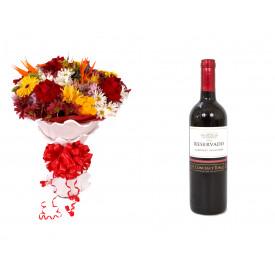 Buquê de Flores Lindo Tropical + Vinho Concha Y Toro