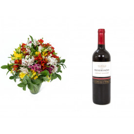Buquê de Flores Colorido Alegre + Vinho Concha Y Toro