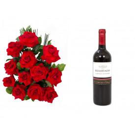 Arranjo de Flores Amor em rosas + Vinho Concha Y Toro