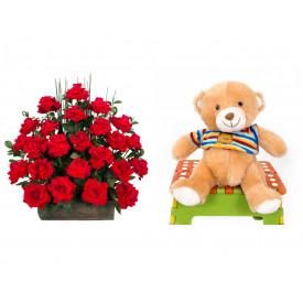 Arranjo de Flores Eu te amo + Urso Carinhoso