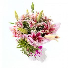 Buquê de Flores Encanto de Lírio rosa