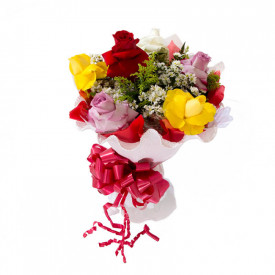 Buquê de Flores Encanto com 6 Colombianas Coloridas