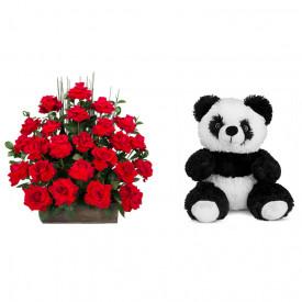 Arranjo de Flores Eu te amo + Urso Panda 25cm