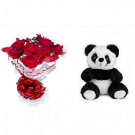 Buquê de Flores Encanto de colombianas vermelhas + Urso Panda 25cm
