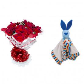 Buquê de Flores Encanto de colombianas vermelhas + Soninho Coelho 37cm