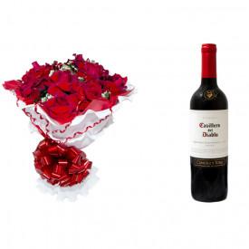 Buquê de Flores Encanto de colombianas vermelhas + Vinho Casillero Del Diablo Reserva Cabernet Sauvignon