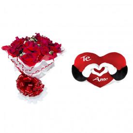 Buquê de Flores Encanto de colombianas vermelhas + Coração Te Amo 40cm