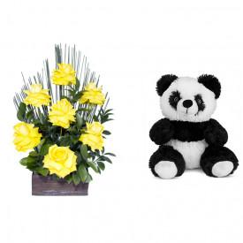 Arranjo de Flores Affetto di fiori amarelo + Urso Panda 25cm