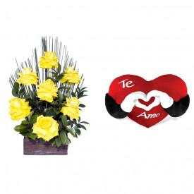 Arranjo de Flores Affetto di fiori amarelo + Coração Te Amo 40cm