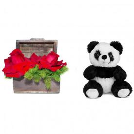 Arranjo de Flores Amor por você + Urso Panda 25cm