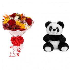 Buquê de Flores Lindo Tropical + Urso Panda 25cm