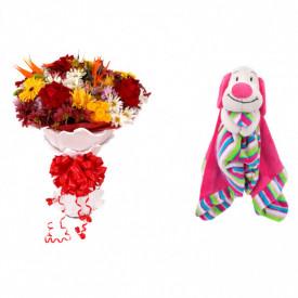 Buquê de Flores Lindo Tropical + Soninho Cachorro 37cm