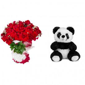Buquê de Flores Loucura de amor + Urso Panda 25cm