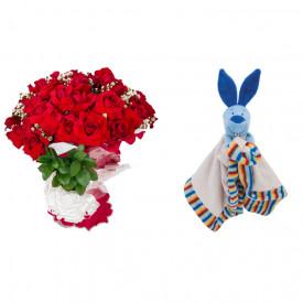 Buquê de Flores Loucura de amor + Soninho Coelho 37cm