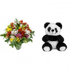Buquê de Flores Colorido Alegre + Urso Panda 25cm