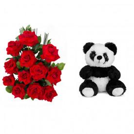 Arranjo de Flores Amor em rosas + Urso Panda 25cm