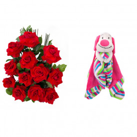 Arranjo de Flores Amor em rosas + Soninho Cachorro 37cm