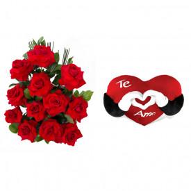 Arranjo de Flores Amor em rosas + Coração Te Amo 40cm