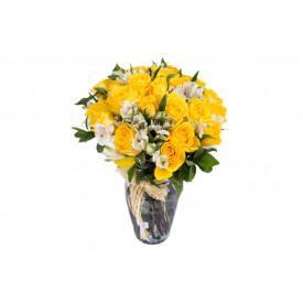 Buquê de flores ESPECIAL de rosas amarelas no vidro