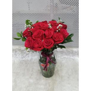 Especial - Arranjo com 21 Rosas Vermelhas no Vidro