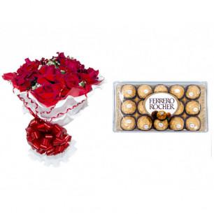 Buquê de Flores Encanto de Colombianas Vermelho + Ferrero Rocher