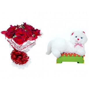 Buquê de Flores Encanto de Colombianas Vermelho + Gata Mel 33cm