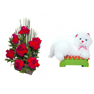 Arranjo de Flores Affetto di fiori vermelho + Gata Mel 33cm
