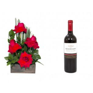 Arranjo de Flores Sabor da Paixão + Vinho Concha Y Toro