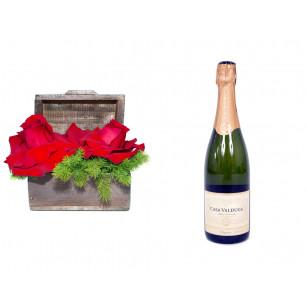 Arranjo de Flores Amor por você+ Espumante Casa Valduga