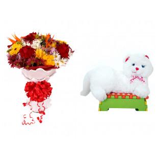 Buquê de Flores Lindo Tropical + Gata Mel 33cm