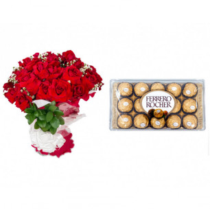 Buquê de Flores Loucura de amor + Ferrero Rocher