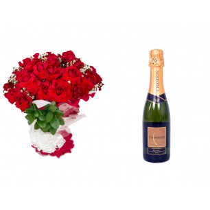 Buquê de Flores Loucura de amor + Espumante Chandon Brut