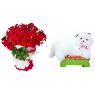 Buquê de Flores Loucura de amor + Gata Mel 33cm