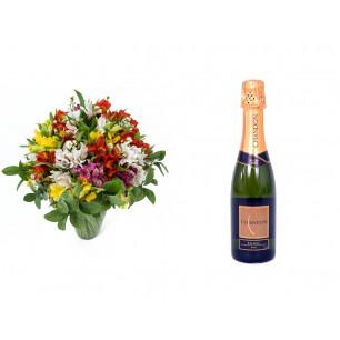 Buquê de Flores Colorido Alegre + Espumante ChandonBrut