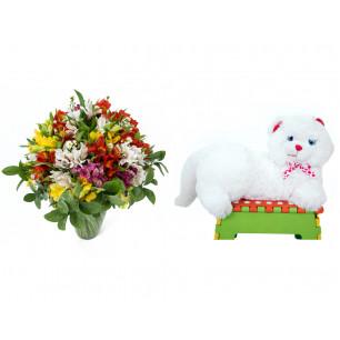 Buquê de Flores Colorido Alegre + Gata Mel 33cm