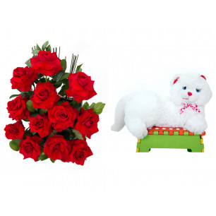 Arranjo de Flores Amor em rosas + Gata Mel 33cm