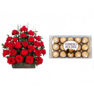 Arranjo de Flores Eu te amo + Ferrero Rocher