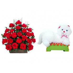 Arranjo de Flores Eu te amo + Gata Mel 33cm