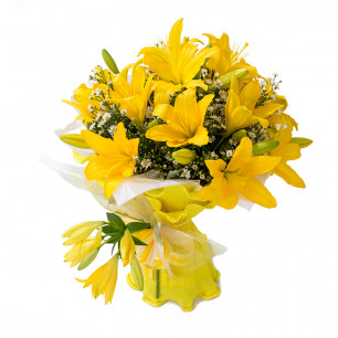 Buquê de Flores Encanto de Lírio amarelo